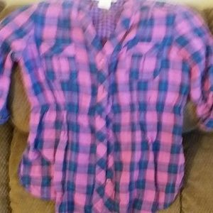 *OP Pink Black Plaid Button Up Shirt Size Small